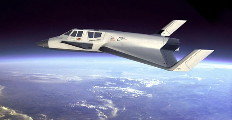 An artist's conception prepared by Xcor Aerospace shows the Xerus suborbital space vehicleflying over Earth's atmosphere. The launch license issued Friday will help smooth the way for flights of a test prototype called the Sphinx.