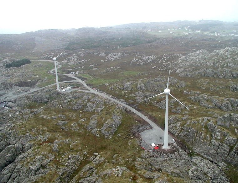 These two wind turbines are powering 10 homes on a Norwegian island as part of a project to make renewable energy reliable.