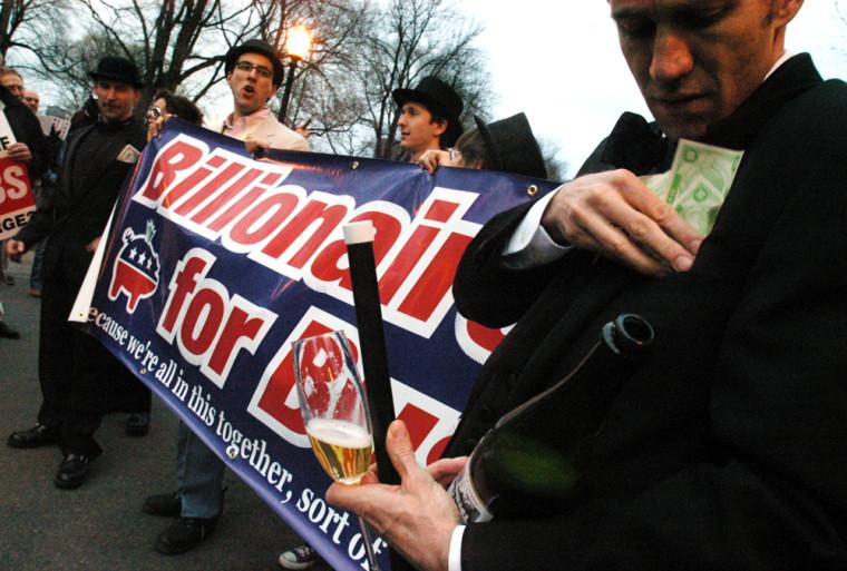 Demonstrators Protest Outside Bush Fundraiser