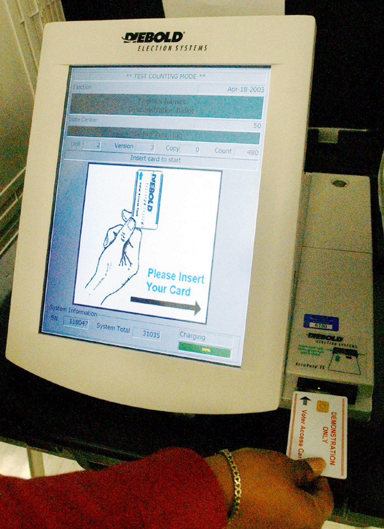ELECTRONIC VOTING MACHINE DEMONSTRATED AT REGISTRARS IN NORWALK