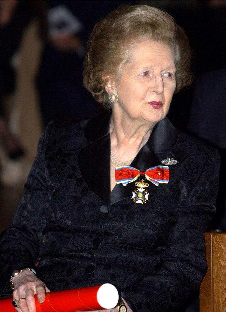 Baroness Thatcher the former British Prime Minister Margaret Thatcher at an eventat London's Westminster Cathedral inNovember 2003.