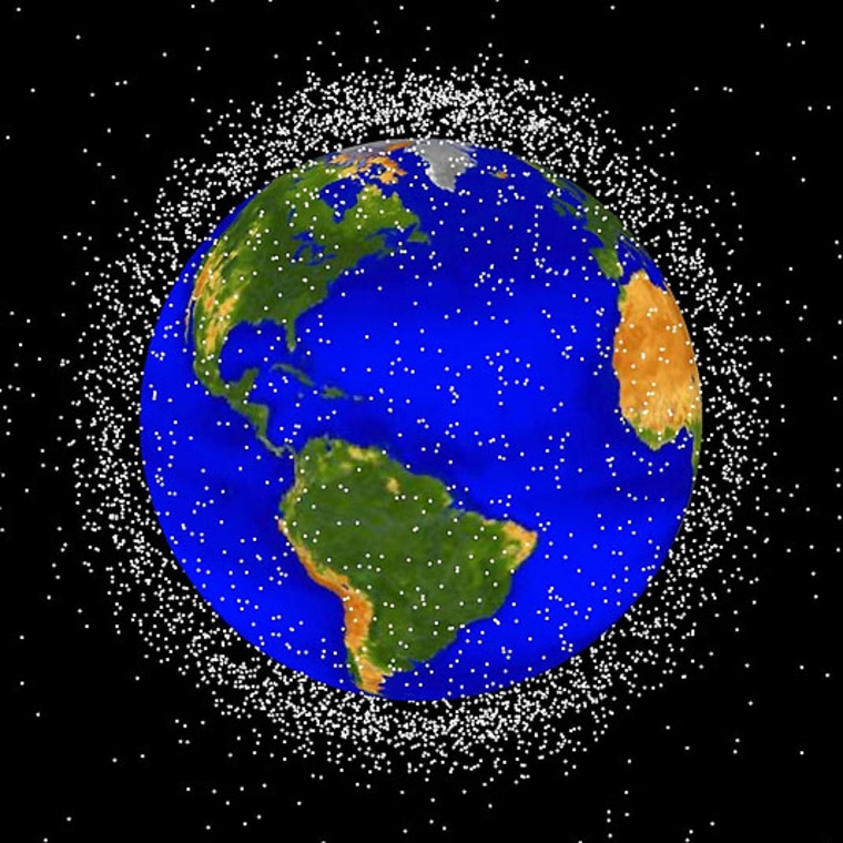 The most concentrated area of debris is in the region of space less than1,240 miles (2,000 km)from Earth, known as low Earth orbit.