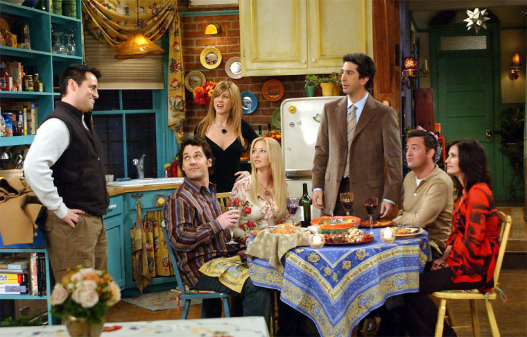 """The cast of NBC's \""""Friends\"""" appear in a scene in this undated publicity photo. Matt Le Blanc as Joey, left, Paul Rudd as Mike, Jennifer Aniston as Rachel, Lisa Kudrow as Pheobe,  David Schwimmer as Ross, Matthew Perry as Chandler, and Courtney Cox Arquette as Monica.  (AP Photo/NBC)"""