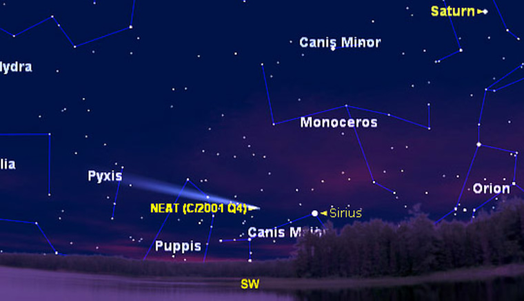 This sky map shows Comet NEAT's position as seen from midnorthern latitudes an hour after sunset on Wednesday. The comet will move higher in the sky each night.