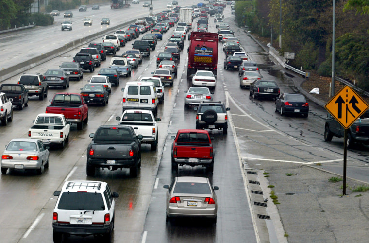 Traffic is heavy at theintersection of 101 and 405 north bound in Los Angeles.