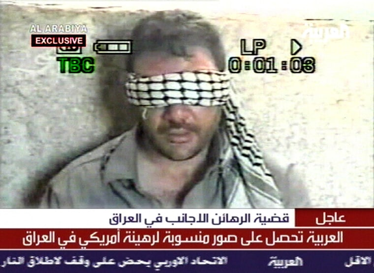 TV IMAGE FROM AL ARABIYA SHOWS WHAT IT SAYS IS A U.S. HOSTAGE IN IRAQ