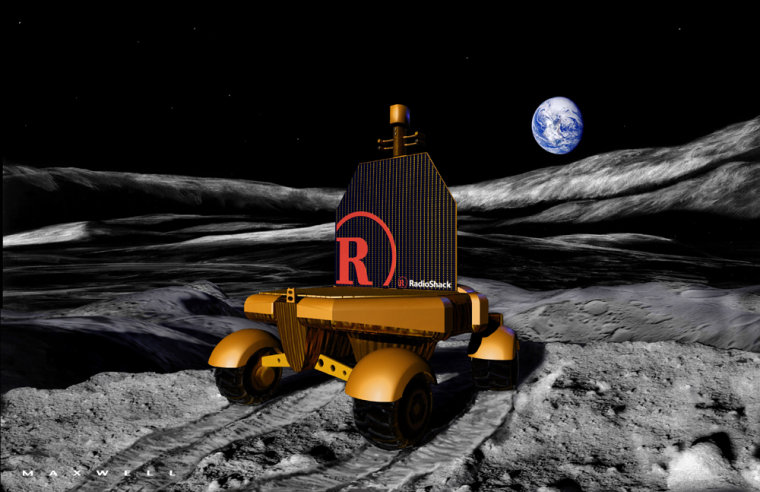 For years, LunaCorp has been working on a plan to put a rover on the moon with the aid of commercial sponsorships, as shown in this artist's conception. NASA plans to encourage such privately funded missions by offering prizes for the first team to achieve a specified objective.