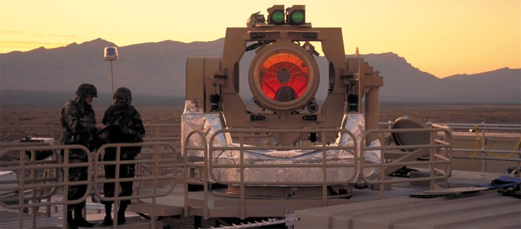 The Nautilus Tactical High Energy Laser, seen in this photo taken during an earlier test, shot down its biggest rocket yet during a test this week, U.S. and Israeli military spokesmen say.