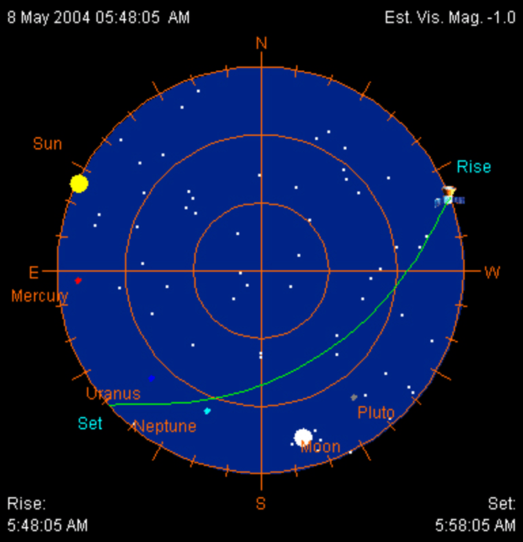 This chart shows a sighting opportunity for the Seattle area, beginning at about 5:48 a.m. PT and ending at 5:58 a.m. PT Saturday. Both the sun and the moon are shown in the sky, and the space station should be the next-brightest object. The chart was generated using NASA's J-Pass program. Click on the Web link in the story below to find sighting opportunities for your local area.