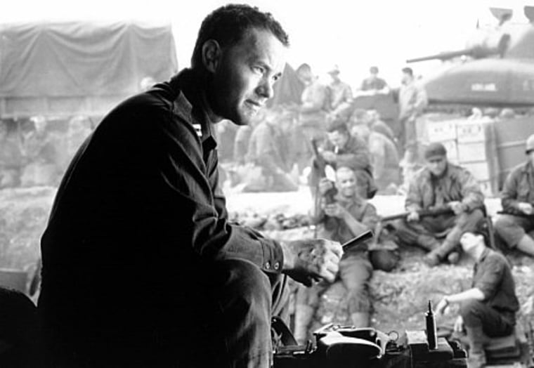 "Tom Hanks starred in Steven Spielberg's ""Saving Private Ryan,"" which recreated the horror of the D-Day invasion."