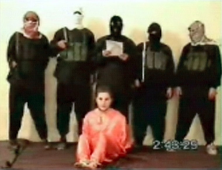 Nicholas Berg is seen seated in this still from a video clip that showed his murder.