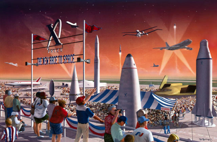 An artist's conception paints a bright picture of a future X Prize Cup festival.