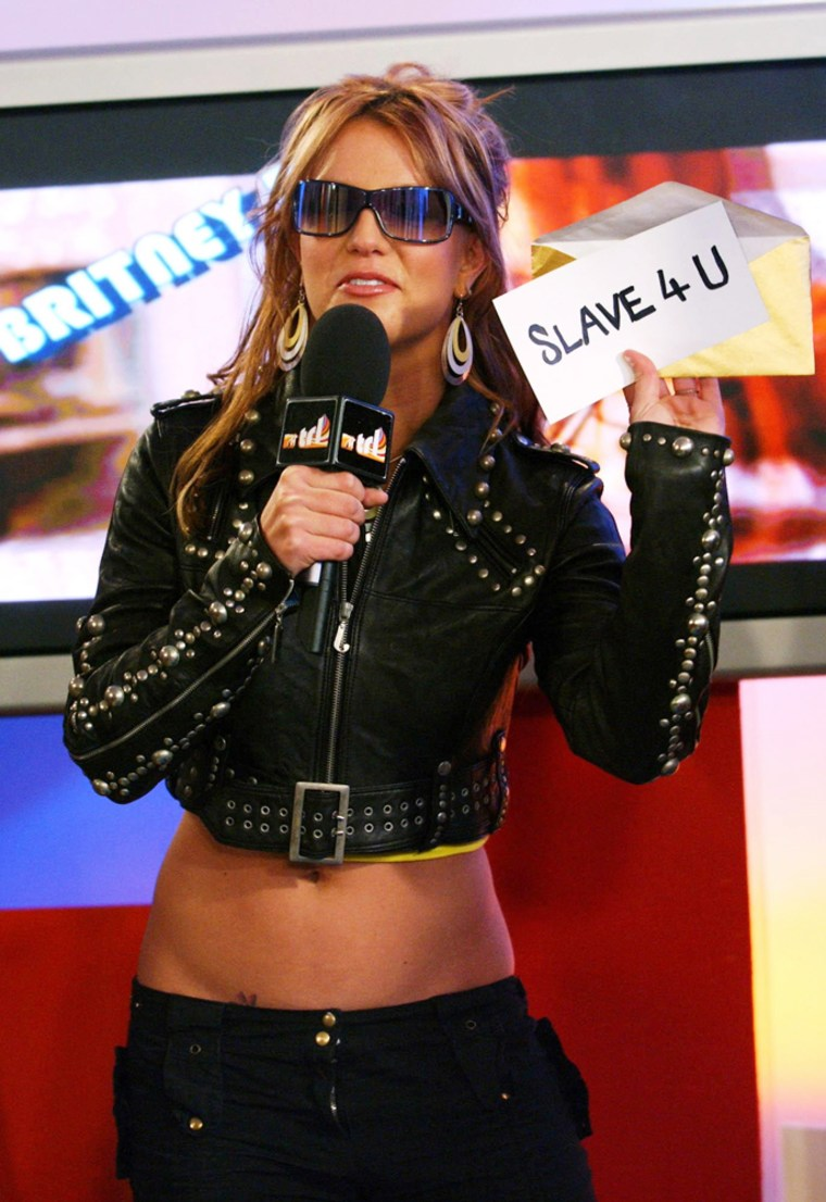 Britney Spears during her appearance on MTV TRL UK in London, early May.