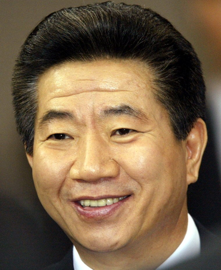 SOUTH KOREAN PRESIDENT ROH REACTS DURING A NEWS CONFERENCE IN SEOUL