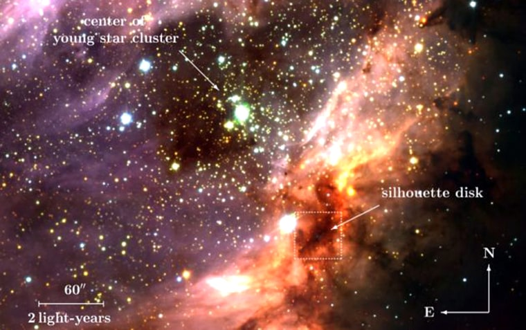 An image of the Omega Nebula and a cluster of hot, young stars taken by the European Southern Observatory's Very Large Telescope. The silhouetted disk is below and to the right of the cluster, indicated by a square.