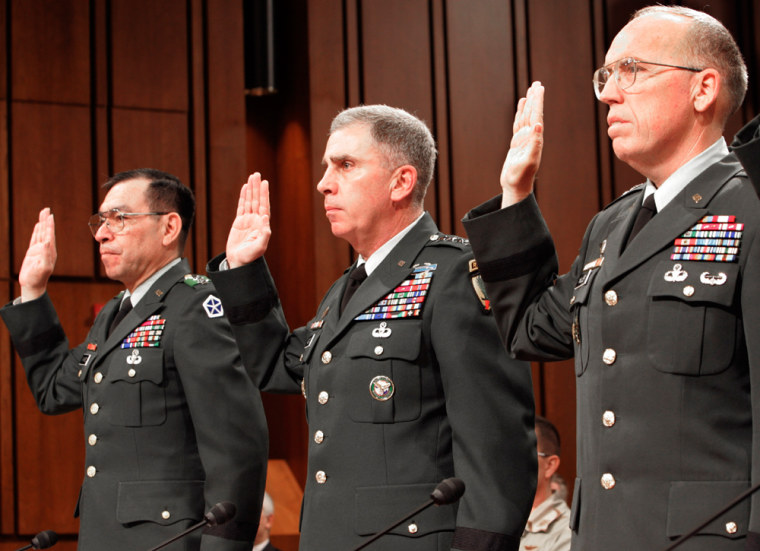 US GENERALS ARE SWORN IN AT CAPITOL HILL IRAQ HEARING