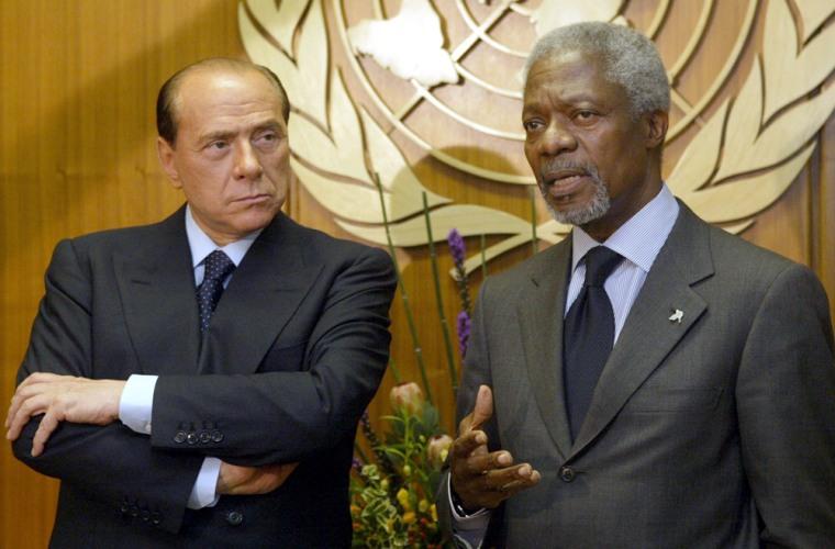U.N. Secretary-General Kofi Annan meets with Italian Prime Minister Silvio Berlusconiin New York onTuesday.