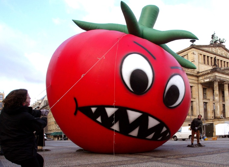 GERMAN GLOBALIZATION PROTESTORS SECURE AN INFLATABLE TOMATO IN BERLIN