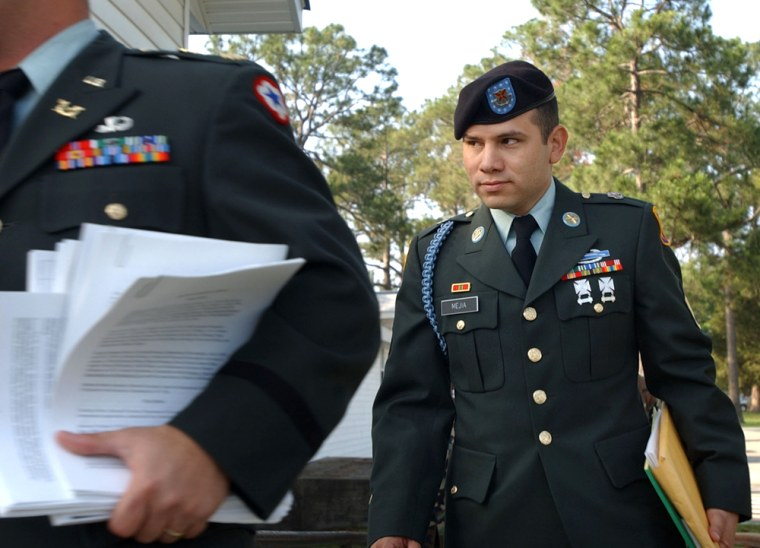 U.S. Army Staff Sgt. Camilo Mejia walks into court Wednesday for the first day of his court-martial in Fort Stewart, Ga., on desertion charges.