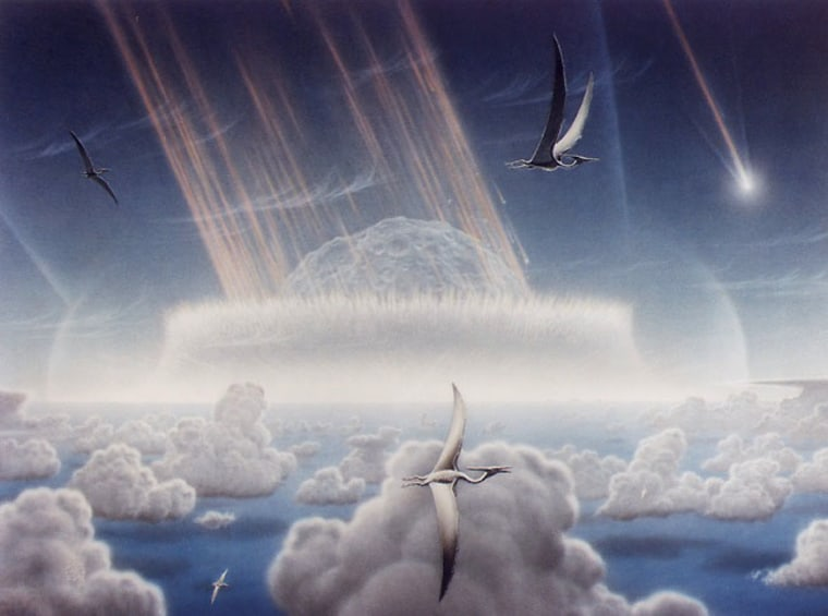 An artist's conception provides a pterodon's-eye view of the asteroid impact that is thought to have led to the extinction of dinosaurs and many other species 65 million years ago.