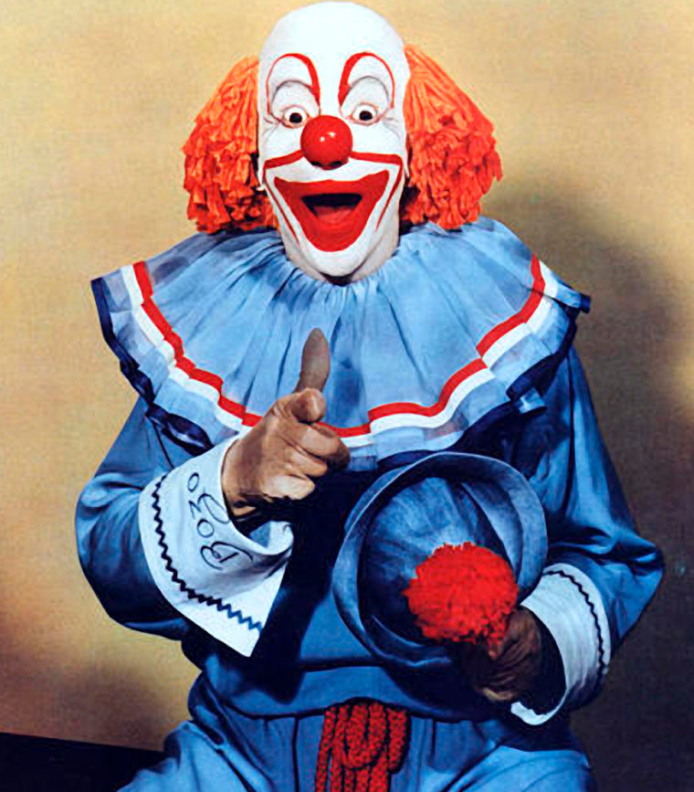 """Vance """"Pinto"""" Colvig portrays the clown Bozo in this undated file photo."""