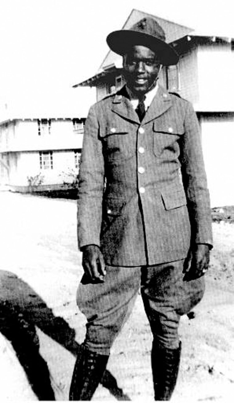 Although the military services were segregated during World War II, many black young men, including future Brooklyn Dodger Jackie Robinson, shown in this undated photograph taken at Camp Hood, Texas, served their countryin black-only units, squadrons and battalions.