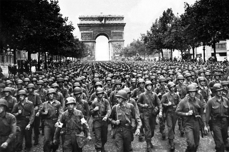 U.S. soldiers of theU.S. 28th Infantry Division march along the Champs Elysees on Aug. 29, 1944, four days after the liberation of Paris.