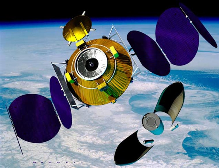 The ConeXpress space tug, shown in this artist's conception, would ride into orbit as a hitchhiking payload on an Ariane 5 rocket, then unfold its solar panels and go in search of a satellite that needed a boost.