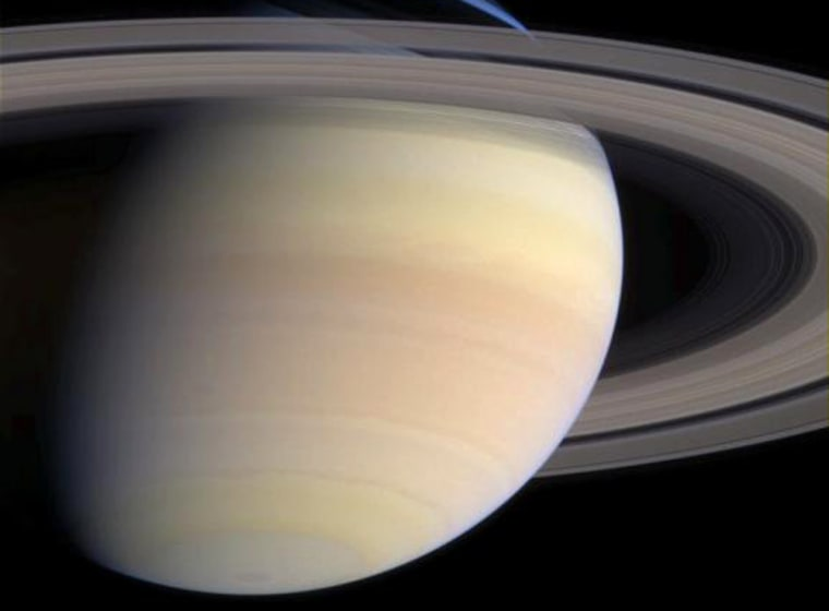 An image from NASA's Cassini probe, taken May 21,shows the delicate pastel hues of Saturn's ammonia-methane clouds. Cassini is now within 10 million miles of the ringed planet.