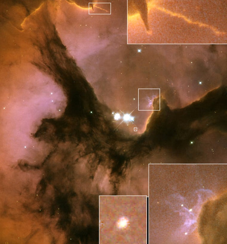 Several detailswithin the Trifid Nebula are enlarged in this montage of imagery from the Hubble Space Telescope. At top is a jet of material that appears to contain a newborn star. At the bottom is a view of an elliptical shape that may be a protoplanetary disc, as well as a gathering of hot O-stars. Click on the image for larger versions from the Space Telescope Science Institute.