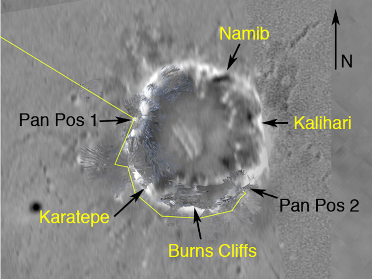 A computer-generated map shows Opportunity's course around Endurance Crater as a yellow line. Several features around the rim of the crater have been named, and NASA intends to send the rover throughthe entry point called Karatepe.