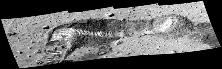 This image taken bySpirit's panoramic camera shows a trench dug by the rover on its way toward the Columbia Hills. Measurements taken of the soil contained in the trench by Spirit's alpha particle X-ray spectrometer showed the presence of sulfur and magnesium.