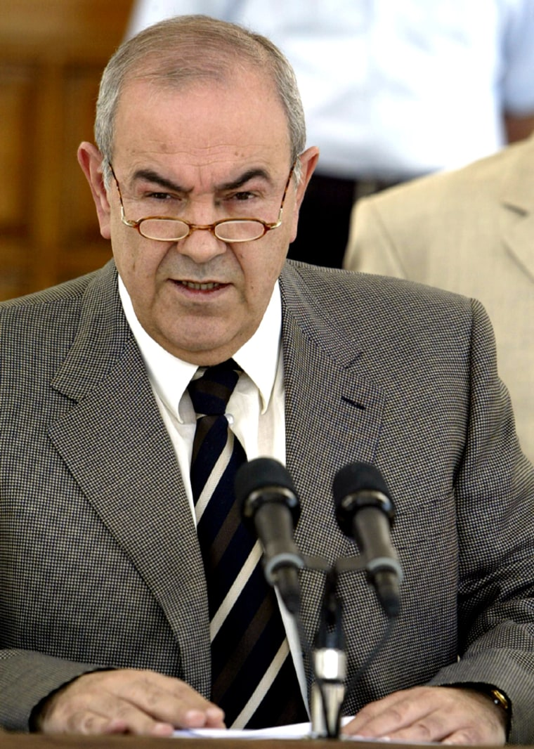 IRAQI INTERIM PRIME MINISTER IYAD ALLAWI MAKES STATEMENT TO REPORTERS IN BAGHDAD