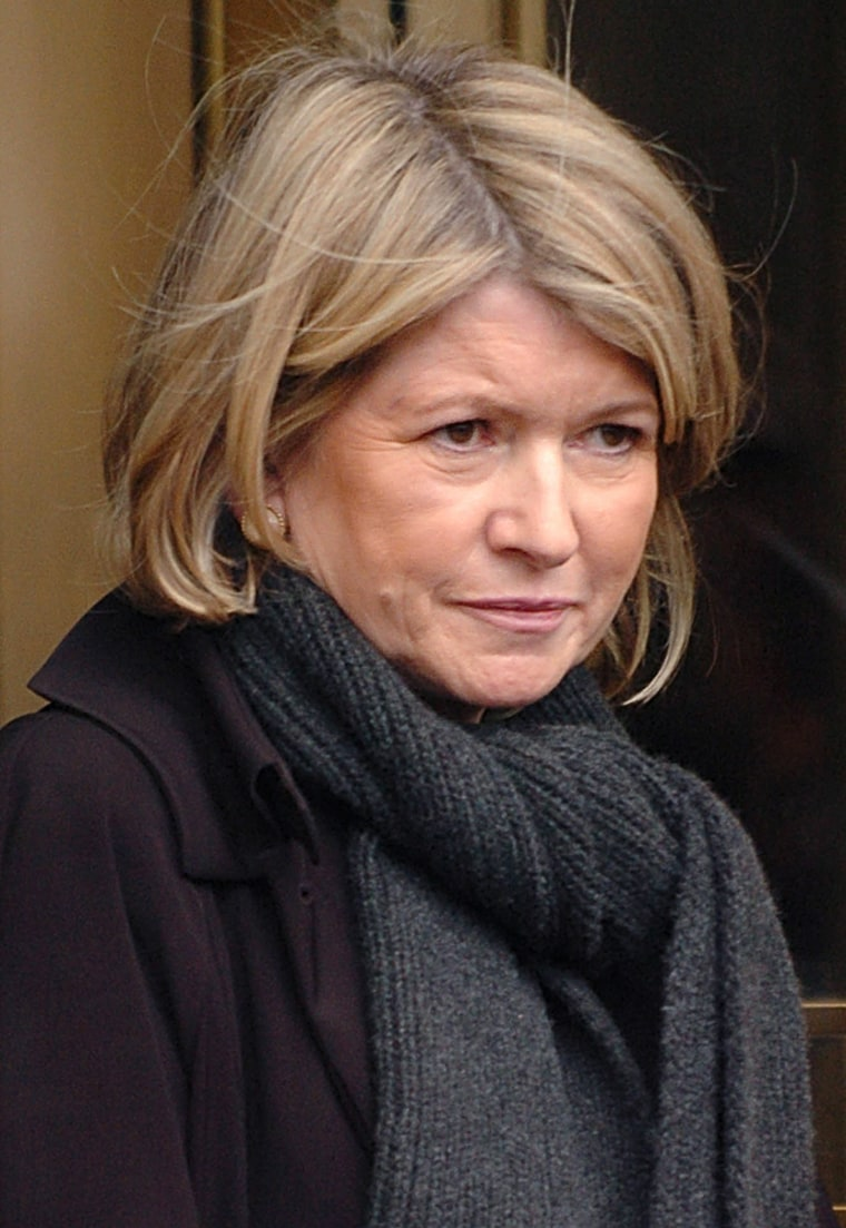 Martha Stewart exits court in New York after meeting with a probation officer in March.