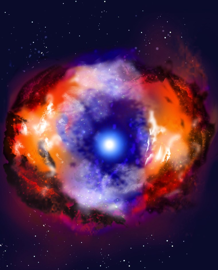 An artist's impressionshows Supernova 1986J, with an expandingreddish nebula surrounding the central black hole or neutron star, which is shown in blue.