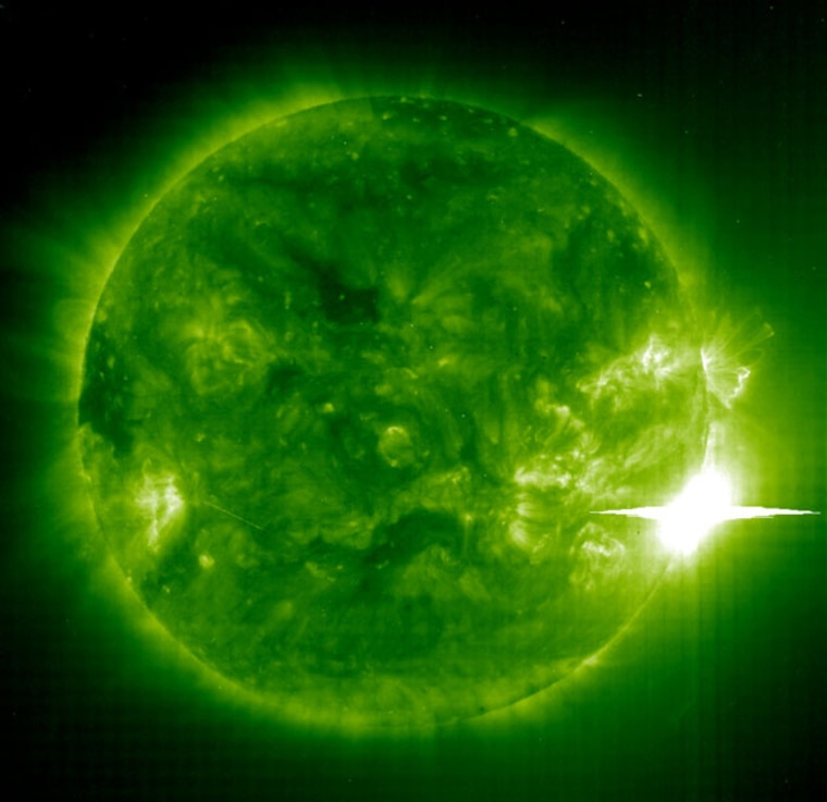Themajor solar flare that erupted on Nov. 4, 2003.