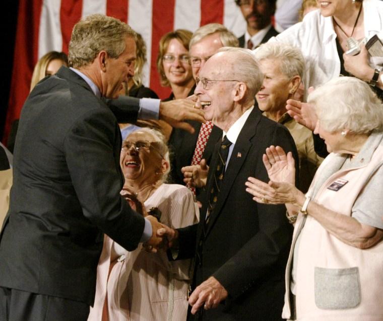 U.S. PRESIDENT GEORGE W. BUSH MEETS SENIOR CITIZENS IN LIBERTY
