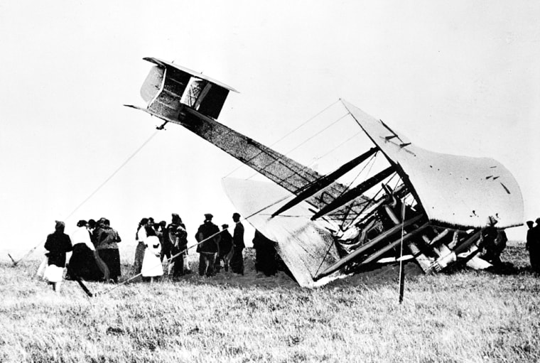 John Alcock and Arthur Whitten Brown crash-land their aircraft in a bog near Clifden, Ireland, on June 15, 1919, completing the first nonstop trans-Atlantic crossing and winning them a 10,000-pound prize.
