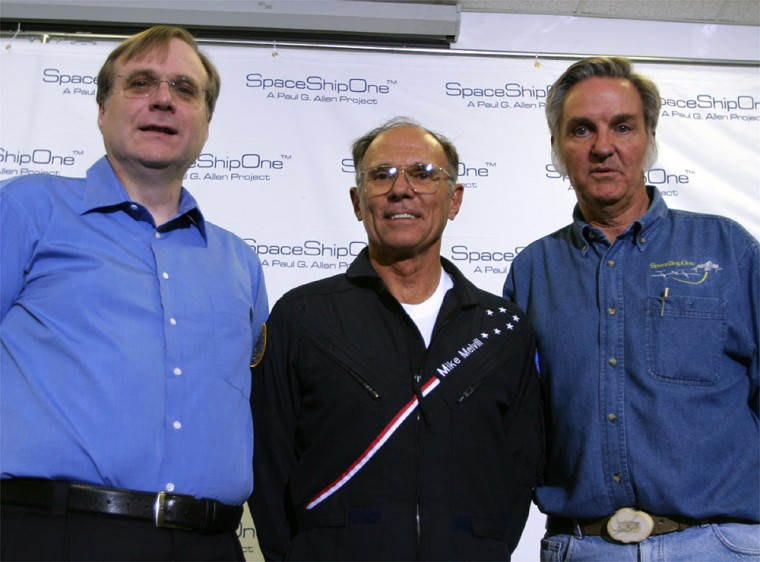 Financial backer Paul Allen, pilot Mike Melvill and aviation designer Burt Rutan face journalists Sunday in Mojave, Calif. Melvill will attempt to become the first private-sector pilot to reach outer space.