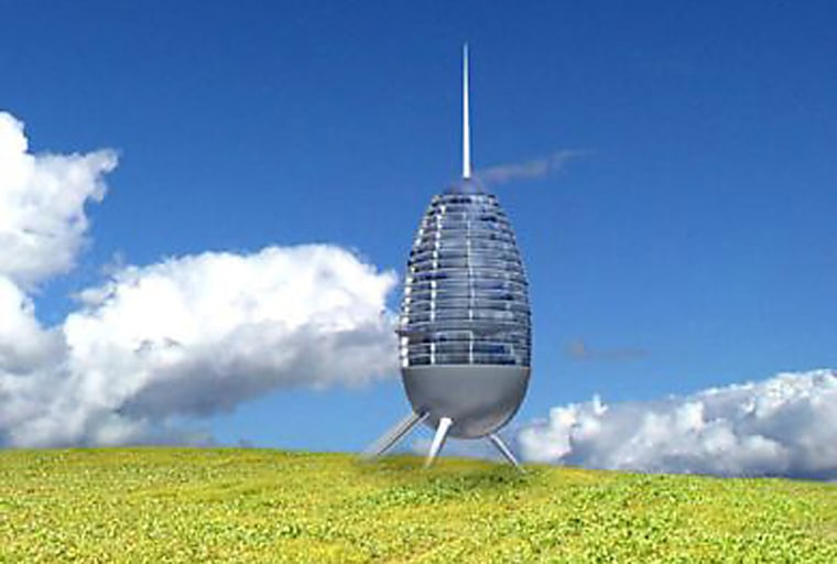 """""""Hotel pods"""" like the one shown in this artist's conception could be placed anywhere on land or at sea."""