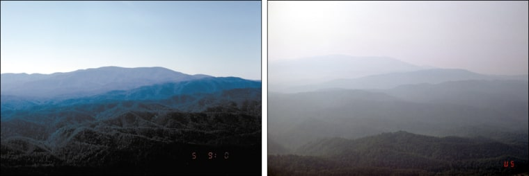 The Great Smoky Mountains National Park, rated the worst for air quality by conservation groups, is seen here on a clear day and a hazy one.