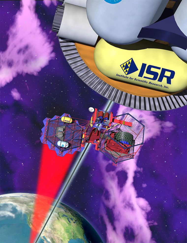 Scientist Bradley C. Edwards thinks his space elevator, shown in this artist's conception, could be operating in 15 years. A laser sends power up to the elevator as it rises along a flat cable to Earth orbit.