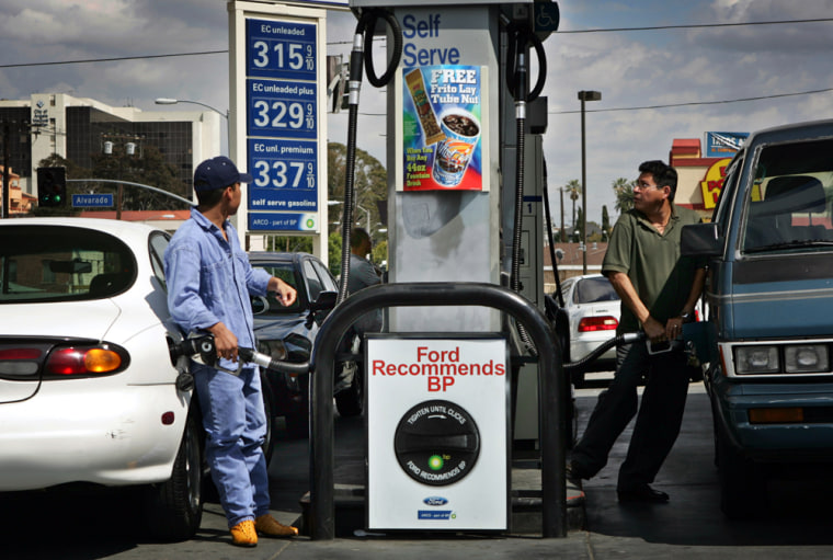 Business at this Arco station near downtown Los Angeles is brisk, even with gasoline now above $3.
