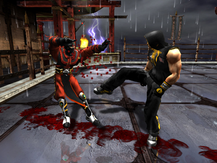 """A bloody battle is seen in a frame made from Midway Games' """"Mortal Kombat: Deceptions,"""" set for release in October."""