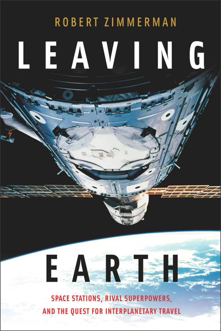 """""""Leaving Earth,"""" written by award-winning essayist and author Robert Zimmerman, traces the history of the international space station and its American and Russian precursors, and looks forward to the future of space outposts."""