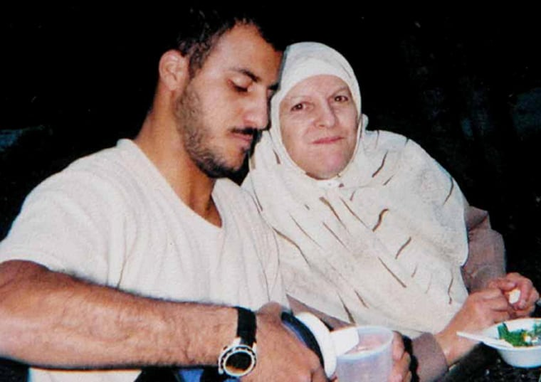 U.S. Marine Cpl. Wassef Ali Hassoun, in an undated photograph with his mother in the United States. The photo was given to The Associated Press by his family on Thursday.
