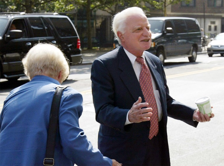 79-year-old Adelphia Communications founder John Rigas, right, was convicted of conspiracy, bank fraud and securities fraud Thursday.