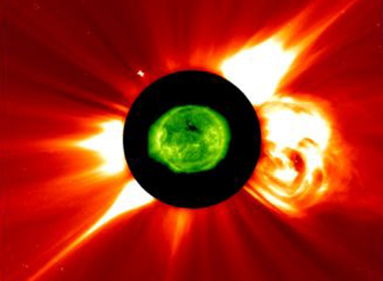 Data from multiple instrumentswas combined to revealthis exploding flare.