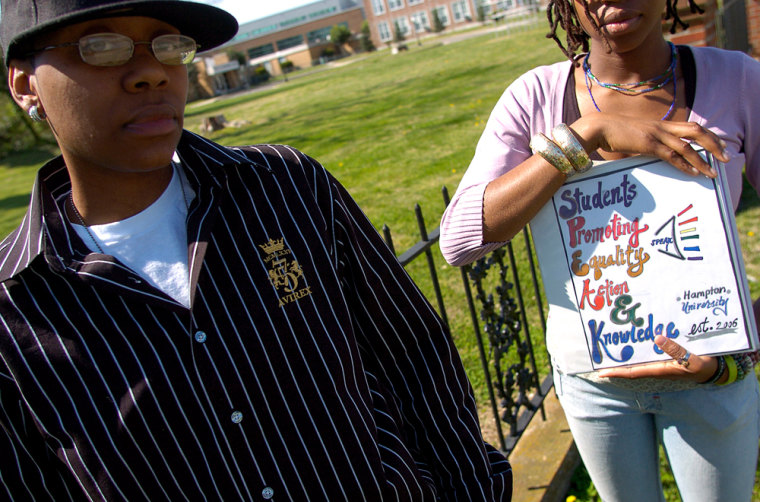 ** ADVANCE FOR WEEKEND OF APRIL 7-8**   Hampton University graduate, April Maxwell, left, and  current Hampton University student, S.M., right, are photographed Saturday, March 30, 2007, in Hampton, Va. Both women tried to organize a gay support group on campus, only to be denied a charter by the school. (AP Photo/Gary C. Knapp)