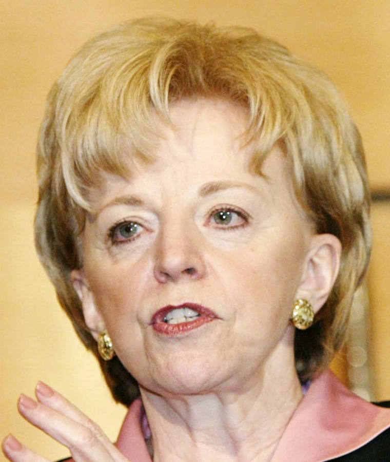 """Lynne Cheney, shown in a May 20 file photo, says her husband has been """"sorely tried"""" by attacks on his integrity."""